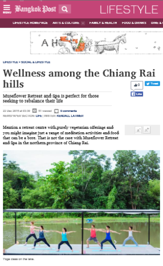 60.Bangkok Post online Lifestyle article -yoga retreat review Dec 22,2015